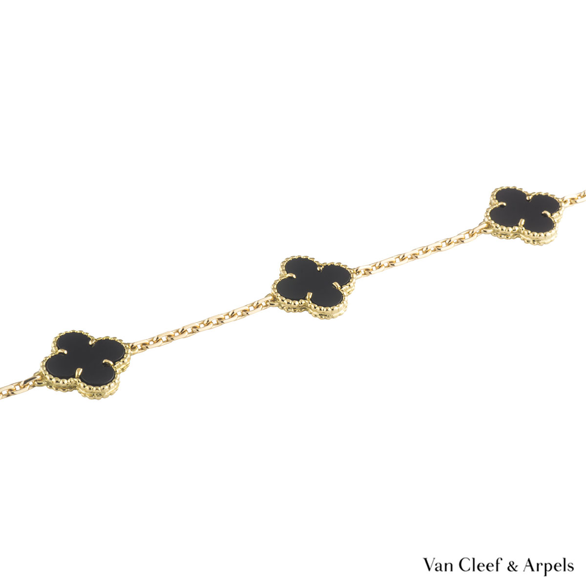 Van Cleef & Arpels Yellow Gold Onyx Vintage Alhambra Necklace VCARA42700